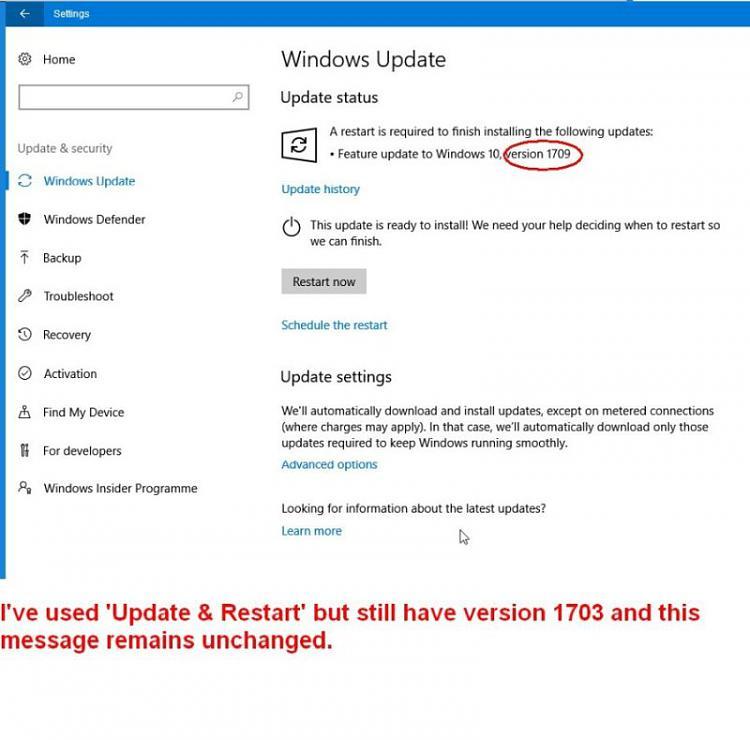 Version 1709 still not installed Solved - Windows 10 Forums