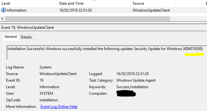 Click image for larger version.  Name:Event viewer update record - update name changes but KB number is constant.PNG Views:35 Size:16.1 KB ID:178088