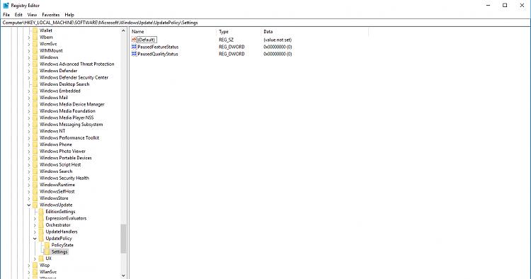 Windows 10 1703 to 1709 Defer Feature Updates Registry