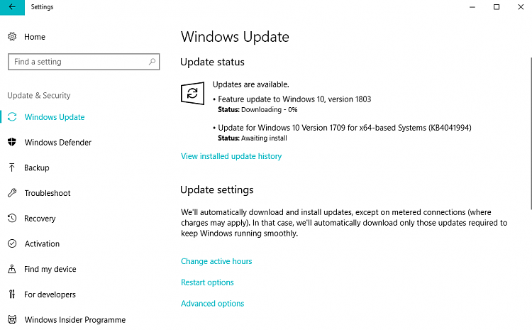 Windows 10 v 1803 failed to install in Windows Update_error