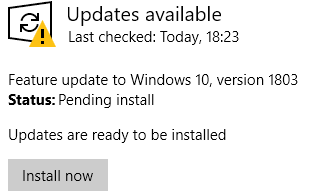 Feature Update 1803 wants to install again?? - Windows 10 Forums