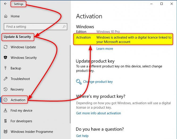 windows key linked to account