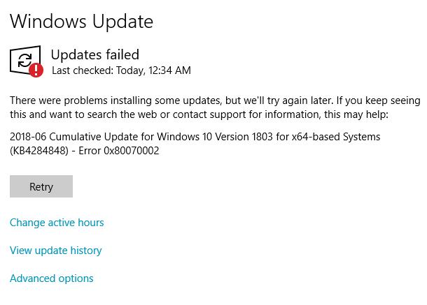 windows 10 1803 update problems