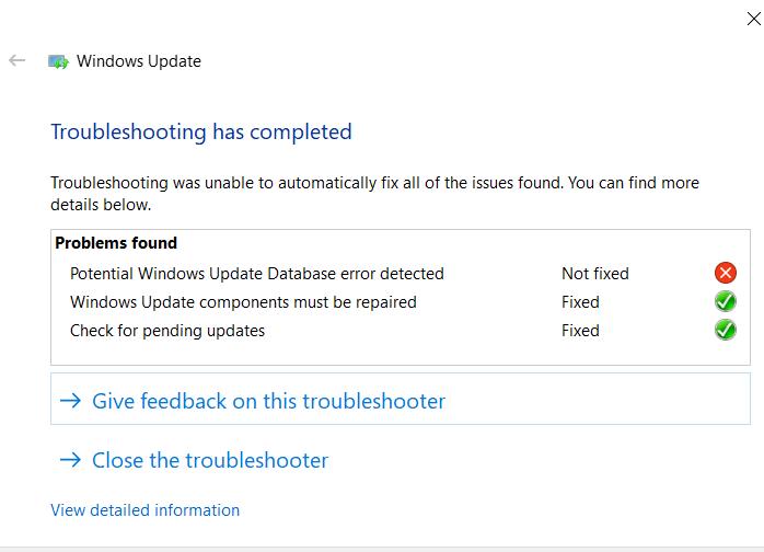 how to fix windows update database error