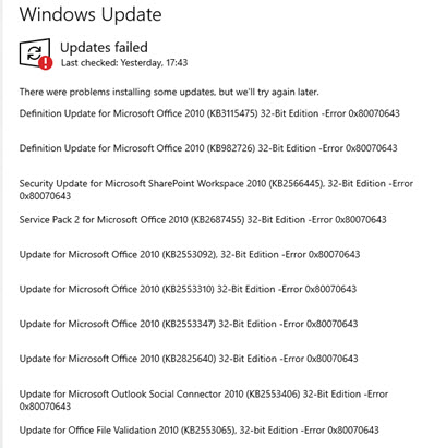 office 2010 updates