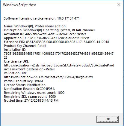 windows license key validation