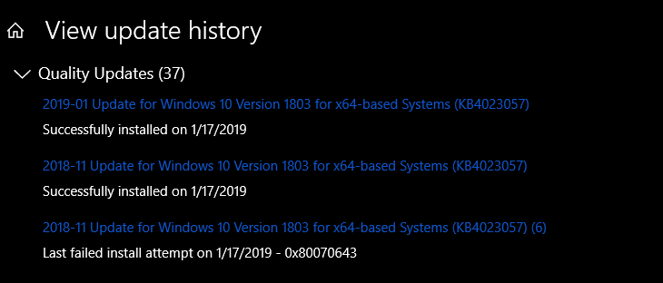 FIX for: KB4023057 Fails - Error 0x80070643 (Windows 10 v1803