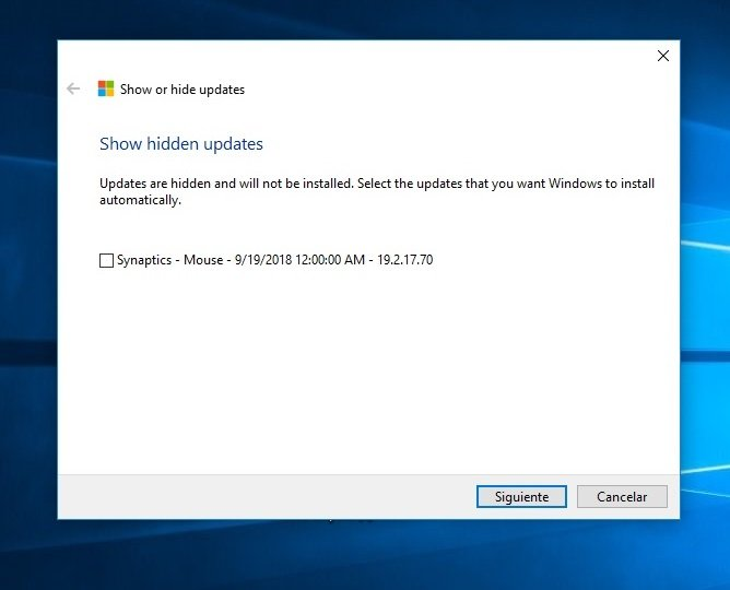 Windows Updates problem installing Dell Synaptics mouse update