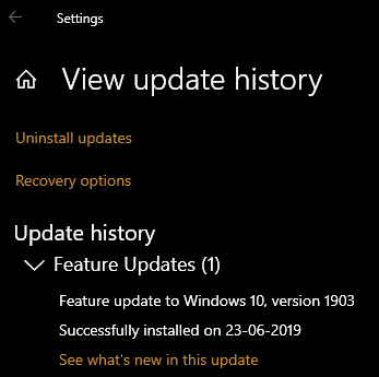 How long does the 1903 upgrade take using Windows Update