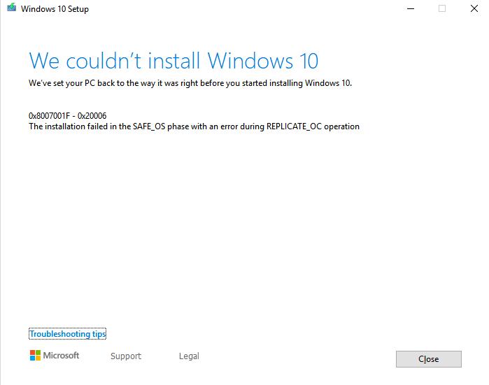 Windows 10 1709 can't update, Error: 0x800f081f Solved
