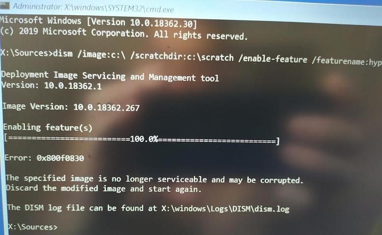 Firmware update or hyper-v causes automatic repair loop