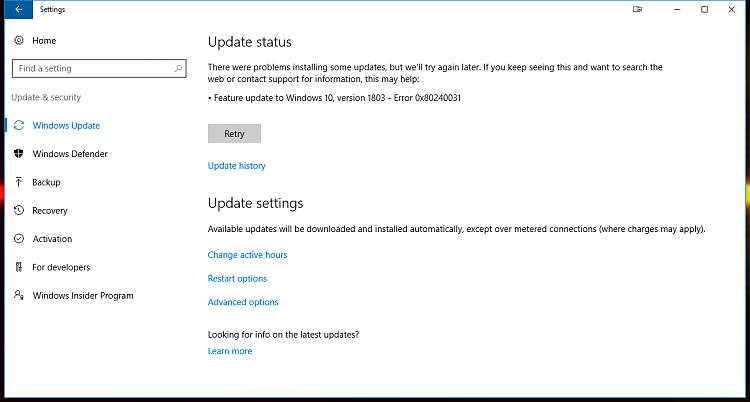 Windows 10 Version 1803 update fails consistently (take 2