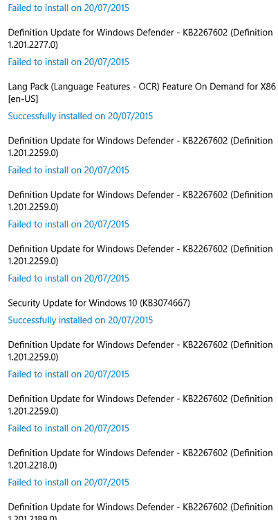 Ms defender updates from windows update fail other for 10 40 window definition