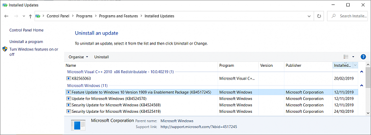 Has Feature Update (14/3/20) slowed my system?-1909-enablement-package-kb4517245.png