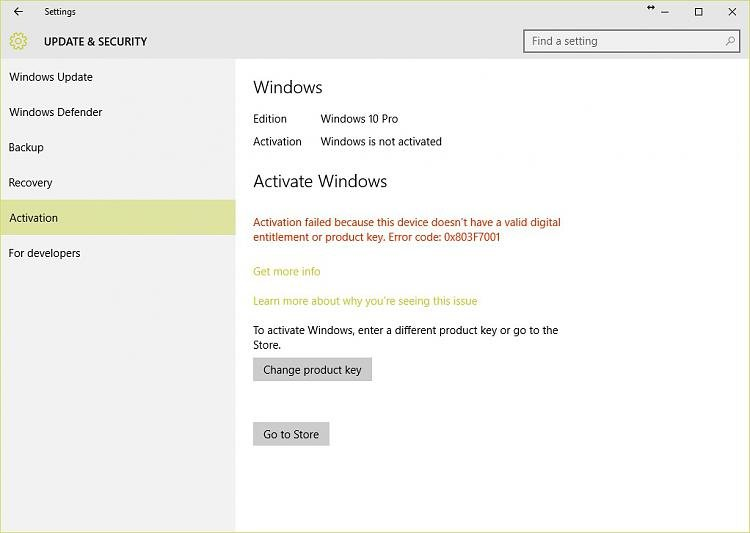 D T Windows Pro Error Code X B Z F on Windows 10 Product Key Code