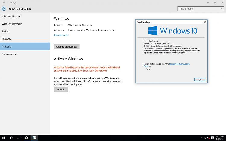 valid digital entitlement windows 10