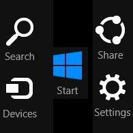 Open Charms in Windows 10